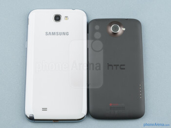 Backs - The Samsung Galaxy Note II (left) and the HTC One X (right) - Samsung Galaxy Note II vs HTC One X