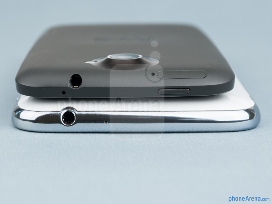 The sides of the Samsung Galaxy Note II (bottom) and the HTC One X (top) - Samsung Galaxy Note II vs HTC One X