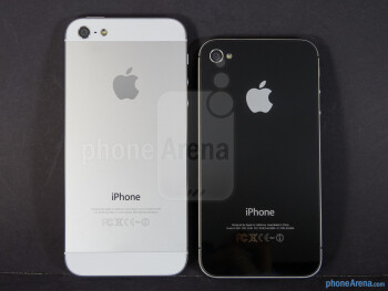 Backs - The Apple iPhone 5 (left) and the Apple iPhone 4S (right) - Apple iPhone 5 vs Apple iPhone 4S