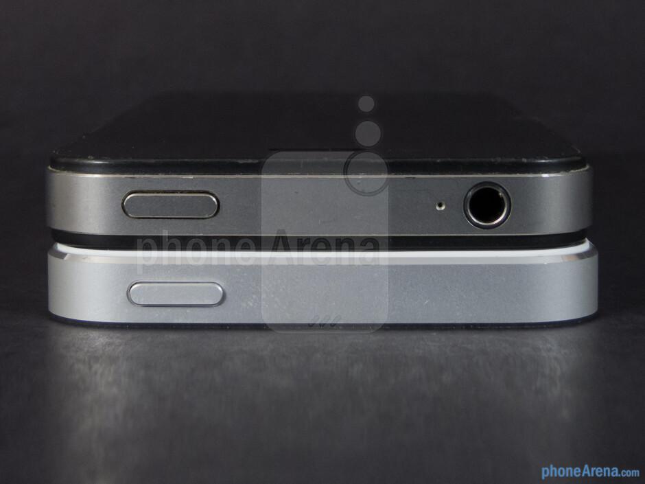 Top - The Apple iPhone 5 (bottom, left) and the Apple iPhone 4S (top, right) - Apple iPhone 5 vs Apple iPhone 4S