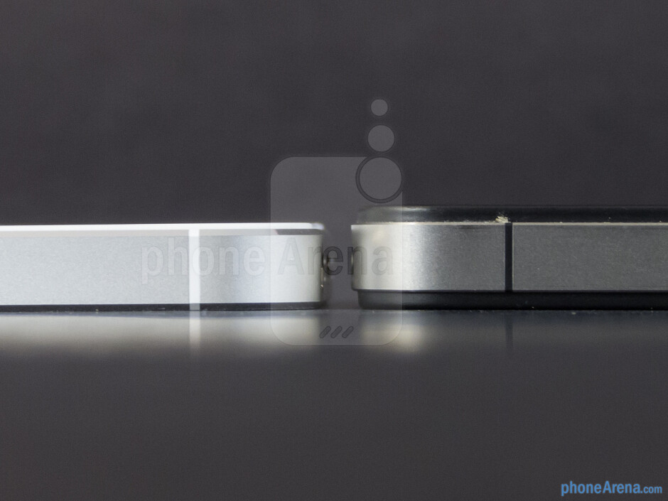 The Apple iPhone 5 (bottom, left) and the Apple iPhone 4S (top, right) - Apple iPhone 5 vs Apple iPhone 4S