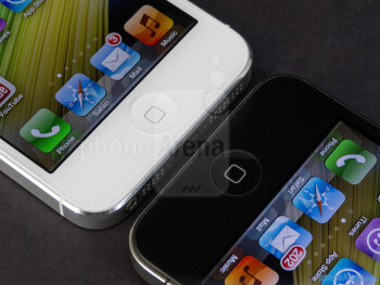 Home buttons - The Apple iPhone 5 (left) and the Apple iPhone 4S (right) - Apple iPhone 5 vs Apple iPhone 4S