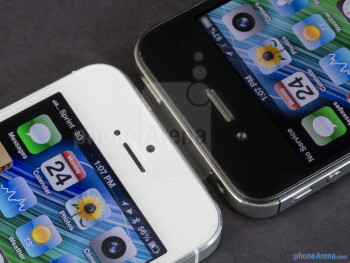 Front cameras - The Apple iPhone 5 (left) and the Apple iPhone 4S (right) - Apple iPhone 5 vs Apple iPhone 4S