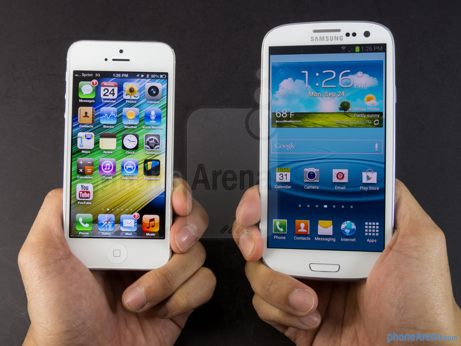 The apple iphone 5 left and the samsung galaxy s iii right