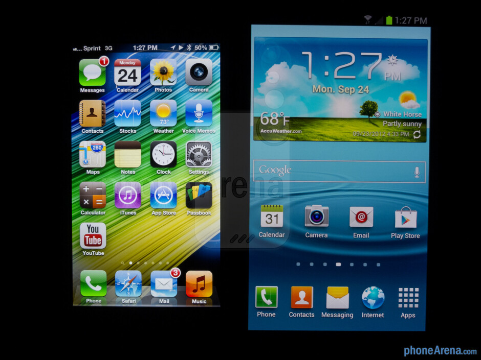 Viewing angles - The Apple iPhone 5 (left) and the Samsung Galaxy S III (right) - Apple iPhone 5 vs Samsung Galaxy S III