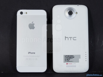 Back - The Apple iPhone 5 (top, left) and the HTC One X (bottom, right) - Apple iPhone 5 vs HTC One X