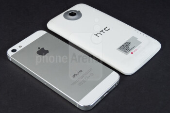 The Apple iPhone 5 (top, left) and the HTC One X (bottom, right) - Apple iPhone 5 vs HTC One X