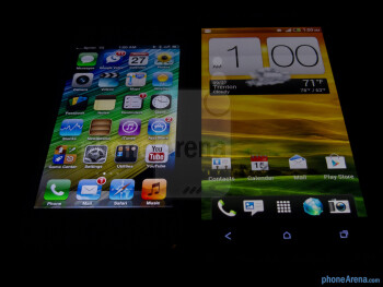 Viewing angles of the Apple iPhone 5 (left) and the HTC One X (right) - Apple iPhone 5 vs HTC One X