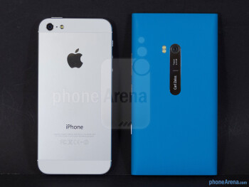 The backs of the Apple iPhone 5 (left) and the Nokia Lumia 900 (right) - Apple iPhone 5 vs Nokia Lumia 900