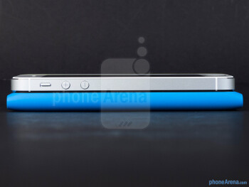 Left edges - The Apple iPhone 5 (top, left) and the Nokia Lumia 900 (bottom, right) - Apple iPhone 5 vs Nokia Lumia 900