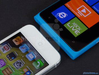 Buttons on the front - The Apple iPhone 5 (left) and the Nokia Lumia 900 (right) - Apple iPhone 5 vs Nokia Lumia 900