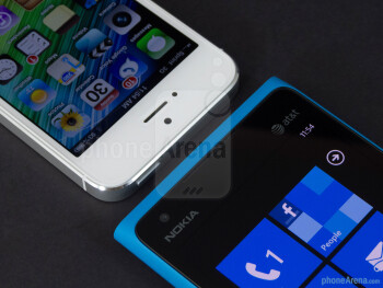 Front cameras - The Apple iPhone 5 (left) and the Nokia Lumia 900 (right) - Apple iPhone 5 vs Nokia Lumia 900