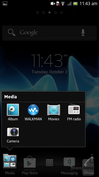 We have the typical for Sony Timescape UX in the Xperia SL layed over Android 4.0 ICS - Sony Xperia SL Review