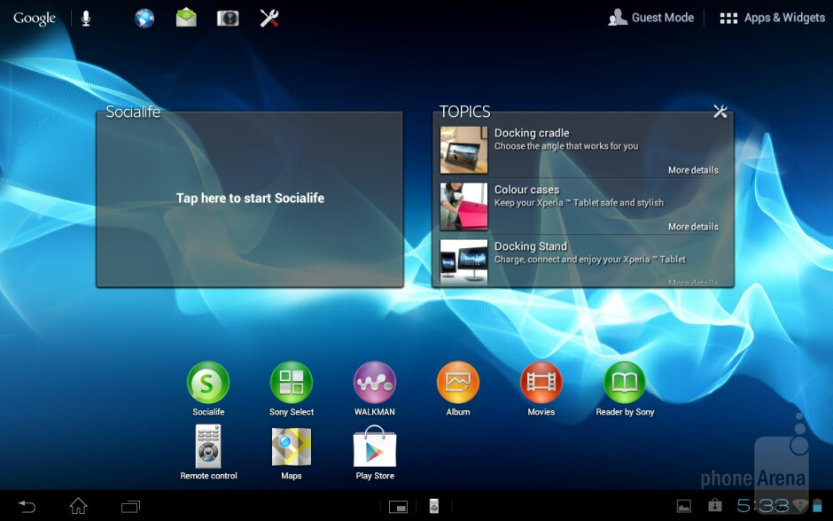 The Guest Mode allows you to restrict the access to applications and features to other users of the tablet - Sony Xperia Tablet S Review