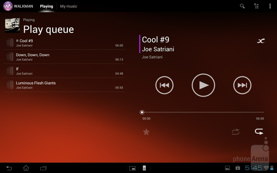 The music player has minimalistic interface - Sony Xperia Tablet S Review