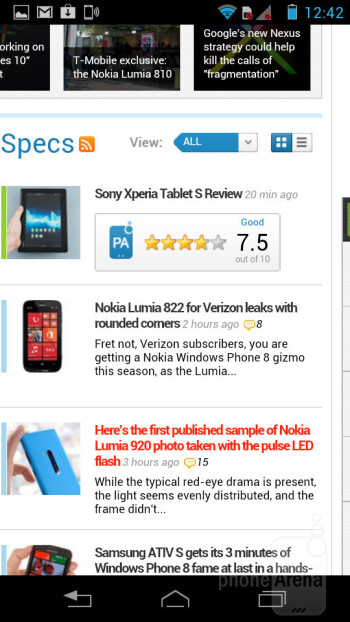 Browsing the web on the Motorola RAZR i - Motorola RAZR i Review