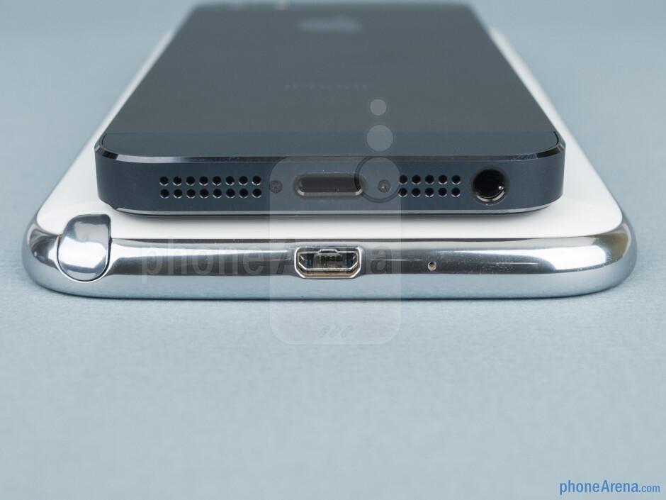 Bottom - Samsung Galaxy Note II vs Apple iPhone 5