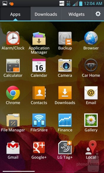 App panel - Interface of the LG Optimus G - Samsung Galaxy Note II vs LG Optimus G