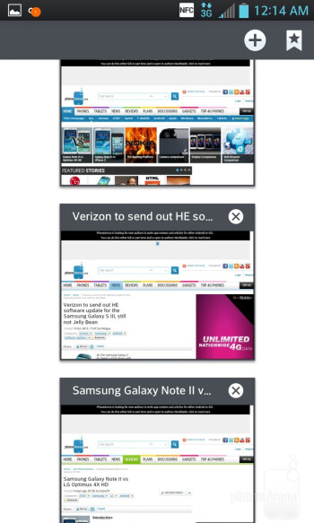 Web surfing of the LG Optimus G - Samsung Galaxy Note II vs LG Optimus G