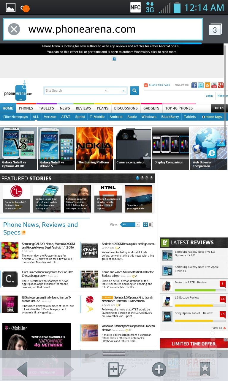Web surfing with the LG Optimus G - LG Optimus G vs HTC One X