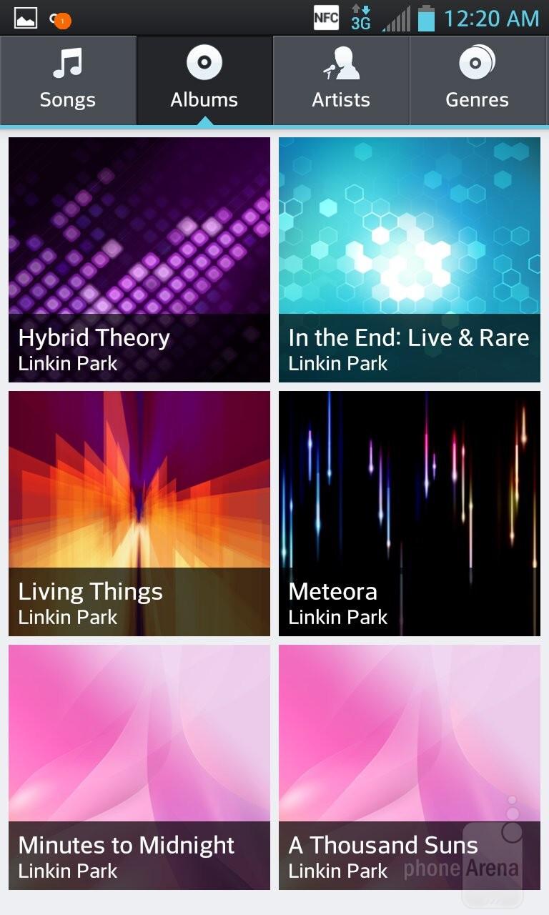 Music player of the LG Optimus G - LG Optimus G vs HTC One X
