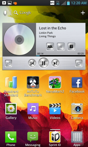 Music player of the LG Optimus G - Samsung Galaxy Note II vs LG Optimus G
