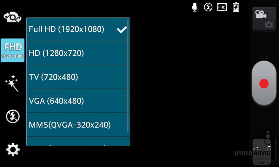 The camera interface of LG Optimus G - LG Optimus G vs HTC One X