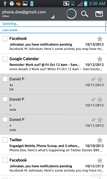The Screen Zooming feature in the e-mail app - LG Optimus G (AT&T & Sprint) Review