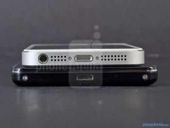 The LG Optimus G (bottom) and the Apple iPhone 5 (top) - LG Optimus G vs Apple iPhone 5