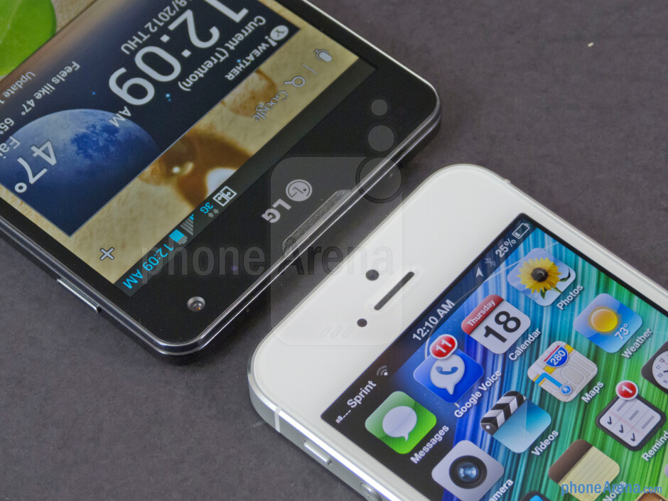 Front-facing cameras - The LG Optimus G (left) and the Apple iPhone 5 (right) - LG Optimus G vs Apple iPhone 5
