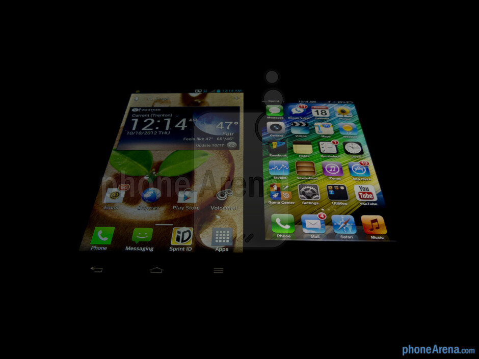 Viewing angles - The LG Optimus G (left) and the Apple iPhone 5 (right) - LG Optimus G vs Apple iPhone 5