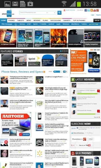 Web browsing with the Samsung Galaxy S III mini - Samsung Galaxy S III mini Review