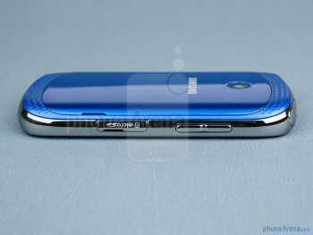Volume rocker and microSD cart slot (left) - The sides of the Samsung Galaxy Music - Samsung Galaxy Music Review