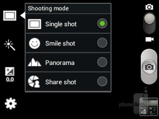 The camera interface offers a few shooting modes - Samsung Galaxy Music Review