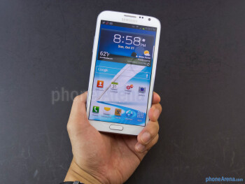 The Samsung Galaxy Note II is a bit unwieldy to hold in the hand, making it more suitable for two-handed operation - Samsung Galaxy Note II Review (AT&T, Verizon, T-Mobile, Sprint)