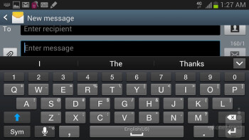 On-screen keyboards of the Samsung Galaxy Note II - HTC DROID DNA vs Samsung Galaxy Note II