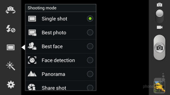 Camera interface of the Samsung Galaxy Note II - HTC DROID DNA vs Samsung Galaxy Note II