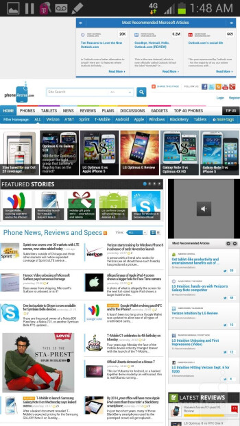 Browsing the web with the Samsung Galaxy Note II - Samsung Galaxy Note II Review (AT&T, Verizon, T-Mobile, Sprint)