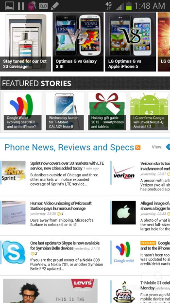 Browsing the web with the Samsung Galaxy Note II - HTC DROID DNA vs Samsung Galaxy Note II
