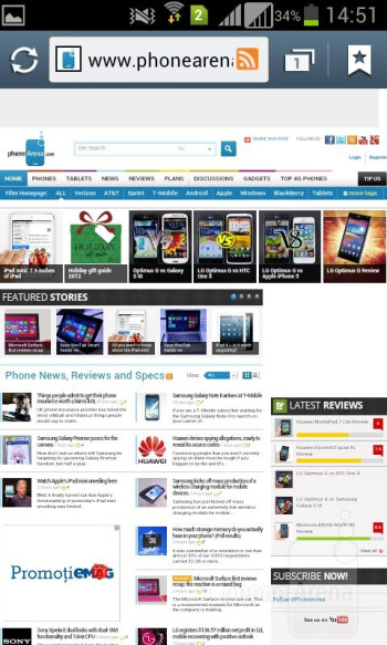 Browser of the Samsung Galaxy S Duos - Samsung Galaxy S Duos Review