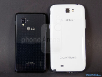 Back - The sides of the Samsung Galaxy Note II (bottom, right) and the LG Optimus G (top, left) - Samsung Galaxy Note II vs LG Optimus G
