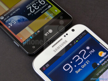 The Samsung Galaxy Note II (right) and the LG Optimus G (left) - Samsung Galaxy Note II vs LG Optimus G