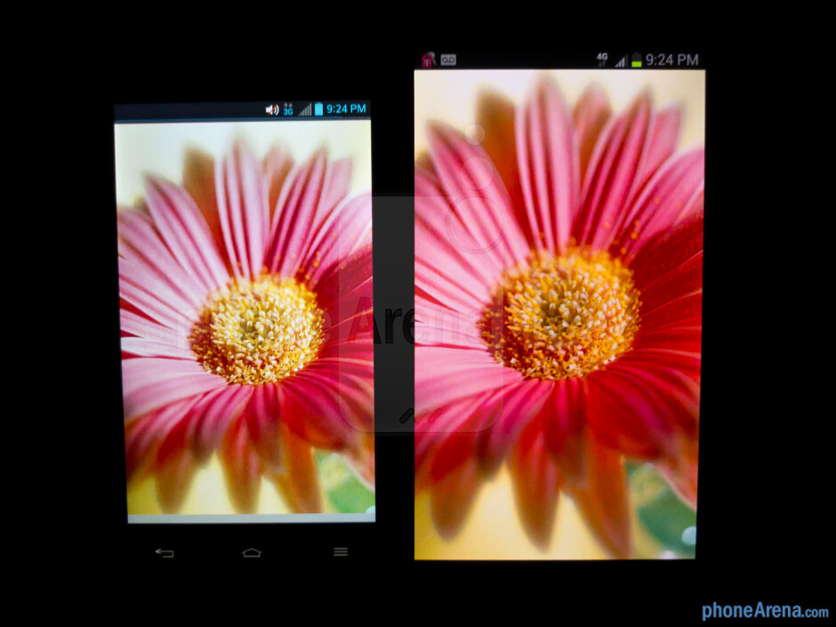 Color production of the Samsung Galaxy Note II (right) and the LG Optimus G (left) - Samsung Galaxy Note II vs LG Optimus G