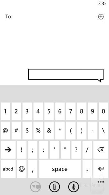 On-screen keyboard of the HTC Windows Phone 8X - HTC Windows Phone 8X vs Samsung Galaxy S III