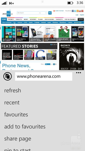 The new Internet Explorer 10 web browser of HTC Windows Phone 8X - HTC Windows Phone 8X vs Apple iPhone 5