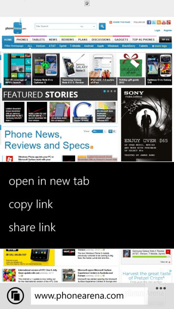 The new Internet Explorer 10 web browser of HTC Windows Phone 8X - HTC Windows Phone 8X vs Samsung Galaxy S III