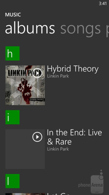 Music player of the HTC Windows Phone 8X - HTC Windows Phone 8X vs Apple iPhone 5