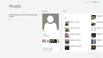 With the People app, we're able to connect our various accounts - Microsoft Surface RT Review