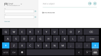 On-screen keyboard of the Microsoft Surface RT - Apple iPad 4 vs Microsoft Surface RT