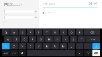 On-screen keyboard of the Microsoft Surface RT - Google Nexus 10 vs Microsoft Surface RT